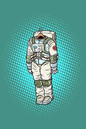 Spacesuit astronaut hanging on a hanger. Pop art retro vector illustration comic cartoon kitsch drawing
