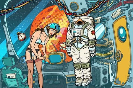 Sexy female astronaut undresses after working in a spaceship. Pop art retro vector illustration comic cartoon kitsch drawing