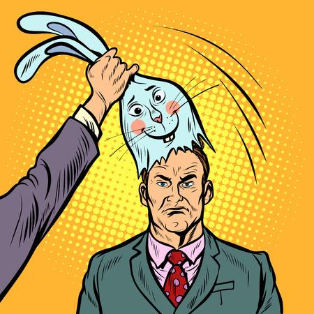 良いバニーのマスクの下に否定的な男。ポップアートレトロ漫画漫画ベクトルイラストキッチュドローイング