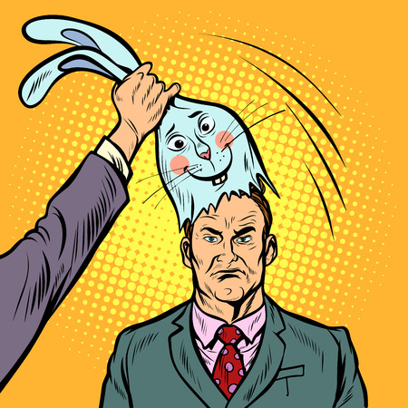 Negative man under the mask of a good Bunny. Pop art retro comics cartoon vector illustration kitsch drawing 向量圖像