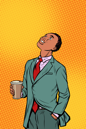 African businessman drinking coffee and looking up. Pop art retro comics cartoon vector illustration kitsch drawing