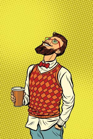 Hipster drinks coffee and looks up