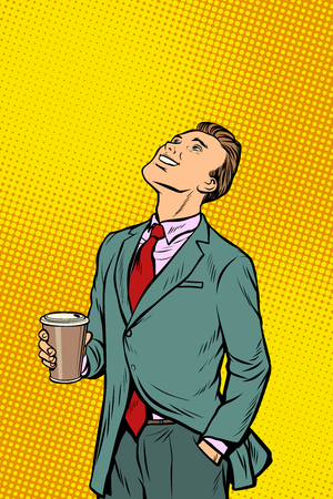 Businessman drinking coffee and looking up. Pop art retro comics cartoon vector illustration kitsch drawing