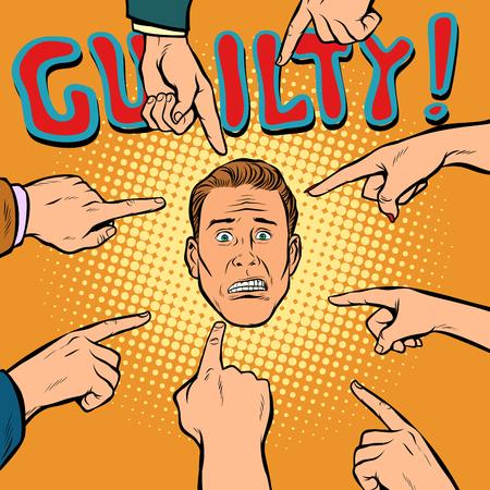 culpable, las manos apuntan al centro. Pop art comics retro ilustración vectorial de dibujos animados kitsch dibujo