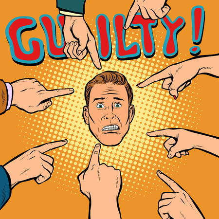 guilty, hands point to the center. Pop art retro comics cartoon vector illustration kitsch drawing