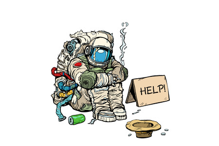 クラウドファンディングのコンセプト。貧しいホームレスの宇宙飛行士はお金を要求する。白い背景に隔離されています。ポップアートレトロ漫画
