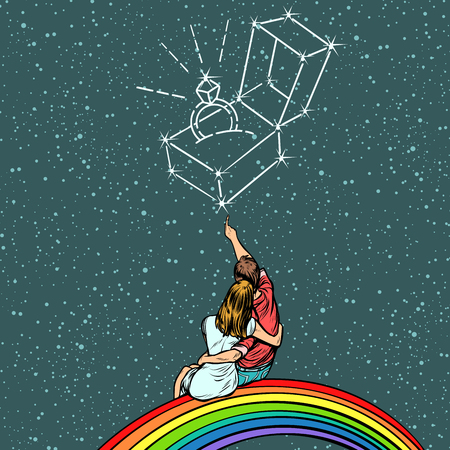 Couple man and woman dreaming of a wedding. Pop art retro comics cartoon vector illustration kitsch drawing