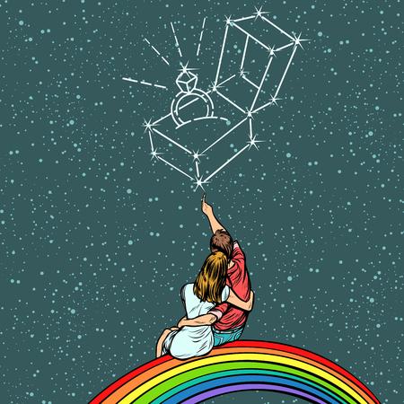 Couple homme et femme rêvant d & # 39 ; un mariage. pop illustration rétro bande dessinée vecteur de bande dessinée. style de bande dessinée Banque d'images - 98561896