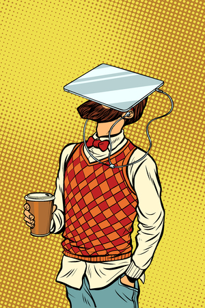 Hipster drinks coffee and watches tablet virtual reality. Pop art retro comics cartoon vector illustration kitsch drawing