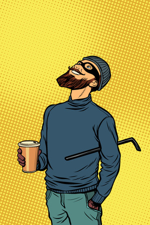 Robber thief hacker drinks coffee and looks up. Pop art retro comics cartoon vector illustration kitsch drawing