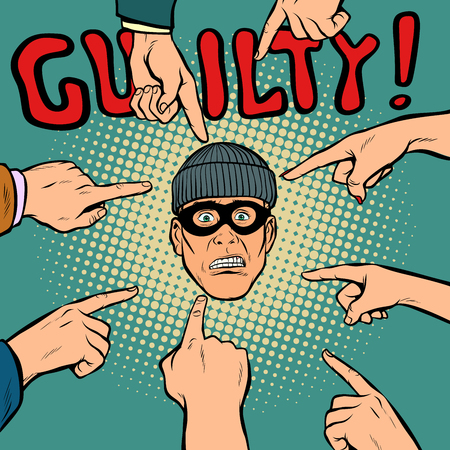 guilty thief robber, hands point to the center. Pop art retro comics cartoon vector illustration kitsch drawing