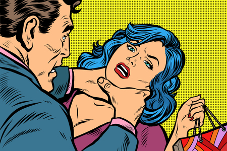 Scandal and domestic violence, a woman came with purchases from the sale. Pop art retro vector illustration kitsch drawing