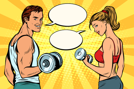 man and woman with dumbbells. comic strip dialogue bubble. Pop art retro vector illustration kitsch drawing
