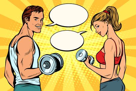 mężczyzna i kobieta z hantlami. komiks dymek dialogowy. Pop art retro wektor ilustracja kicz rysunek