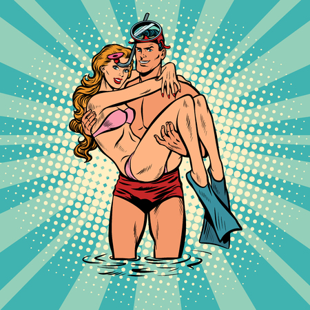 Couple man and woman resting on the sea. Lifeguard saved girl. Pop art retro vector illustration comic cartoon vintage  Vectores