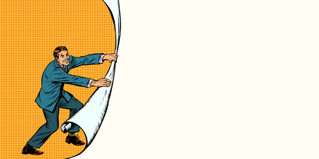 Businessman opens a curtain background. Pop art retro vector illustration comic cartoon vintage kitsch Vettoriali
