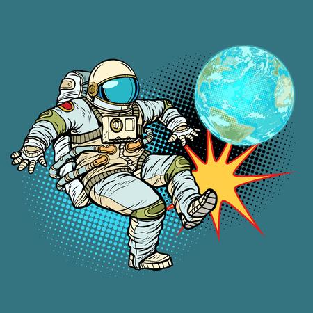 Astronaut plays planet Earth football. Pop art retro vector illustration cartoon comics kitsch drawing Illustration