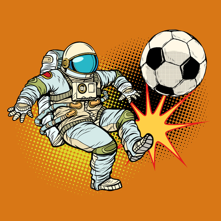 Astronaut playing football. Sport soccer illustration. Illustration