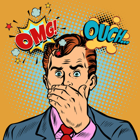 OMG ouch surprised businessman. Pop art retro vector illustration cartoon comics kitsch drawing