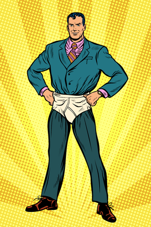 Superhero businessman in funny pants diapers illustration. Stock Illustratie