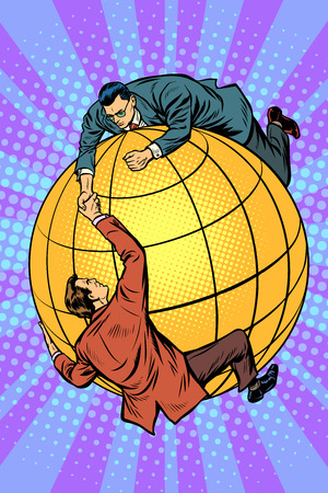 Politicians on the globe help each other. Global business and international politics. Pop art retro vector illustration cartoon comics kitsch drawing