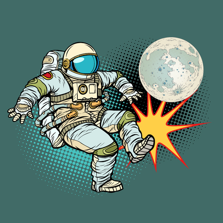 Astronaut plays football with the Moon. Pop art retro vector illustration cartoon comics kitsch drawing