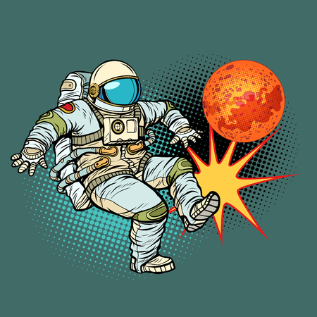 Astronaut playing football Mars