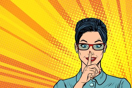Woman silence gesture vector illustration design.