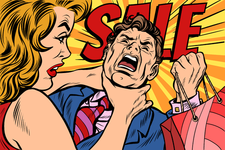 Wife strangles husband, shopping and sales. Pop art retro vector illustration cartoon comics kitsch drawing Vectores