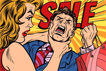 Wife strangles husband, shopping and sales. Pop art retro vector illustration cartoon comics kitsch drawing Stock Illustratie