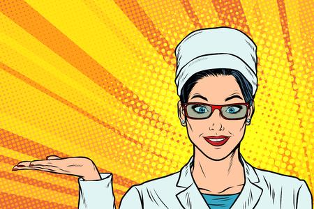 Woman doctor hand presentation gesture illustration.