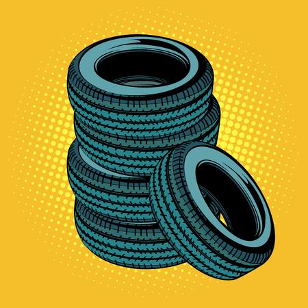 Een stapel autobanden. Popart retro vector illustratie strip cartoon kitsch tekening