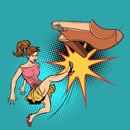 Woman and fashion, girl kicks shoes. Pop art retro vector illustration comic cartoon kitsch drawing