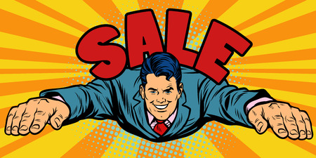 Joyful businessman flies, sale. Pop art retro vector illustration comic cartoon kitsch drawing