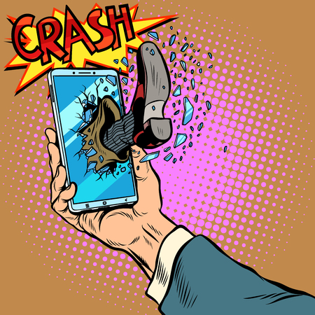 Hacking the phone, concept. Leg breaks smartphone screen. Pop art retro vector illustration comic cartoon kitsch drawing