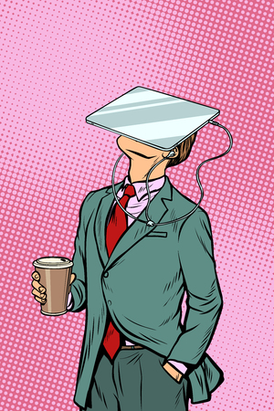 Businessman drinking coffee and watching tablet virtual reality. Pop art retro comics cartoon vector illustration kitsch drawing