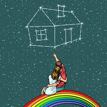 Couple man and woman dreaming of a house. Pop art retro comics cartoon vector illustration kitsch drawing