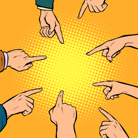 Hands point to the center in pop art retro comics cartoon illustration.