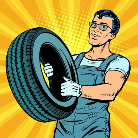 Male car mechanic with wheel in pop art retro illustration comic cartoon.