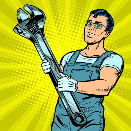 Man repairman with a wrench in pop art retro illustration comic cartoon drawing.