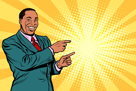 Businessman pointing finger at the side in pop art retro illustration comic cartoon drawing.
