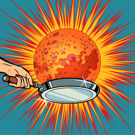 People with a frying pan fry the planet Mars in pop art retro illustration comic cartoon drawing.