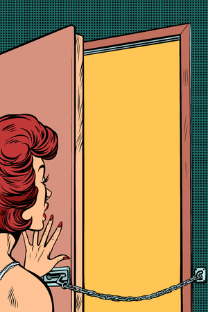 A woman opens the door in pop art retro illustration comic cartoon drawing.