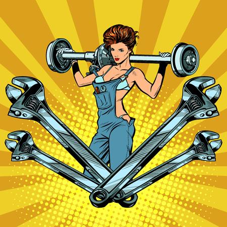 Female master car repair garage machine service in pop art retro illustration comic cartoon drawing.