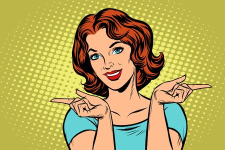 Vrouw wijzende vingers links en rechts in popart retro illustratie strip cartoon tekenen. Vector Illustratie