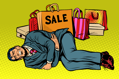 Man is bad after the sale in pop art retro illustration comic cartoon drawing. Standard-Bild - 100681288