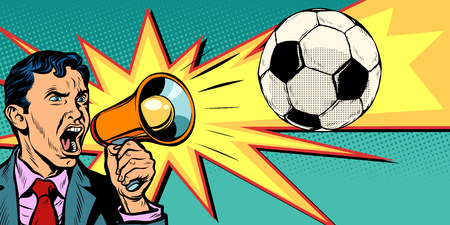 Businessman with megaphone, fan of a football match in pop art retro illustration comic cartoon drawing. 일러스트