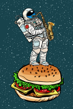 Astronaut plays saxophone on a Burger in pop art retro illustration comic cartoon drawing.