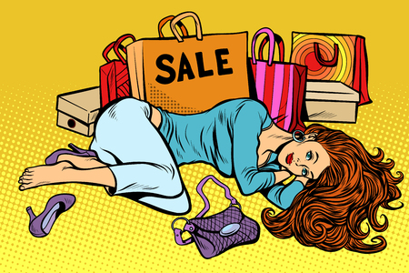 Beautiful woman after sale in pop art retro illustration comic cartoon drawing.