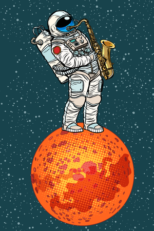 Astronaut plays saxophone on Mars in pop art retro illustration comic cartoon drawing. Stock Illustratie